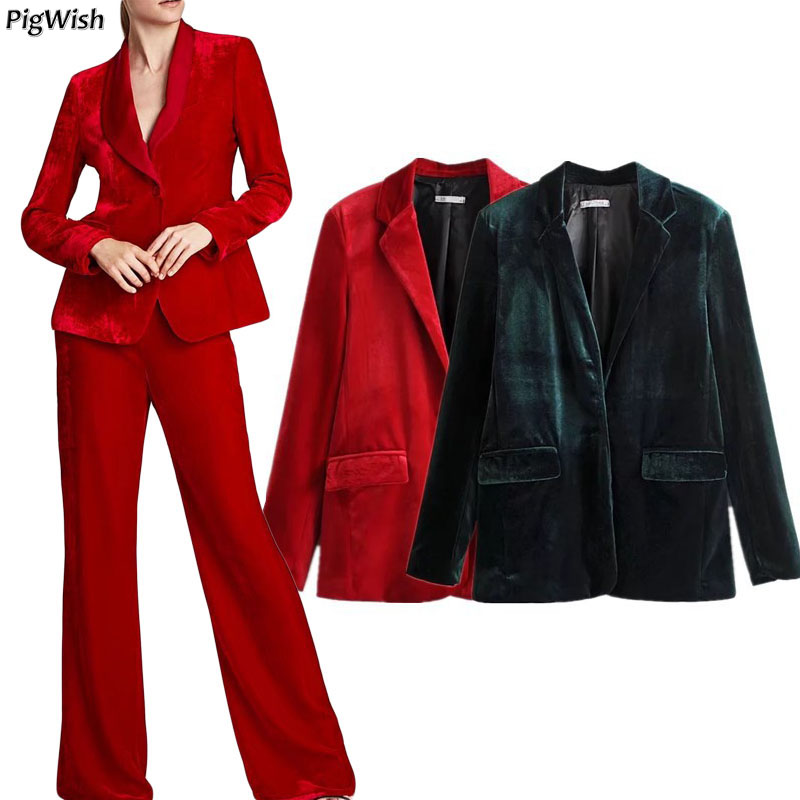 2018 Spring Woman Suit Slim Female Velvet Blazer Feminino Fashion Womens Casual Coat Jacket Single Button Red Green