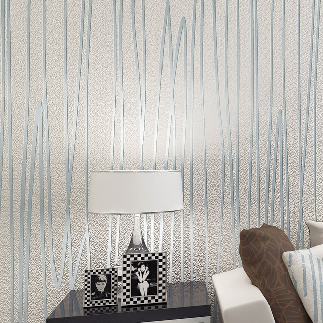 Modern 3d Embossed Striped Non Woven Suede Wallpaper Environmental