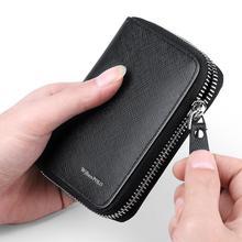 محفظة رجالية من ويليابولو ثنائية الطي بحامل بطاقات الائتمان منظم من الجلد الطبيعي حافظة بطاقات متعددة بسحاب حول المحفظة أسود أزرق