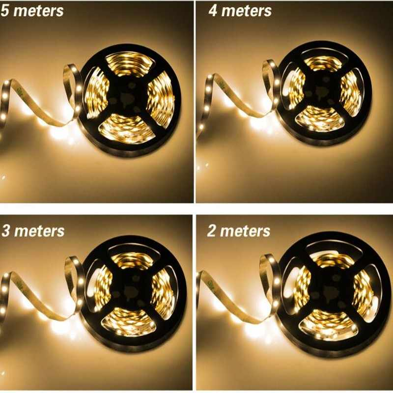 USB dengan Mini 3KEY LED Strip DC 5 V Flexible Light 60LED 50 CM 1 M 2 M 3 M 4 M 5 M SMD 2835 Desktop Dekorasi TV Layar Pencahayaan Latar Belakang