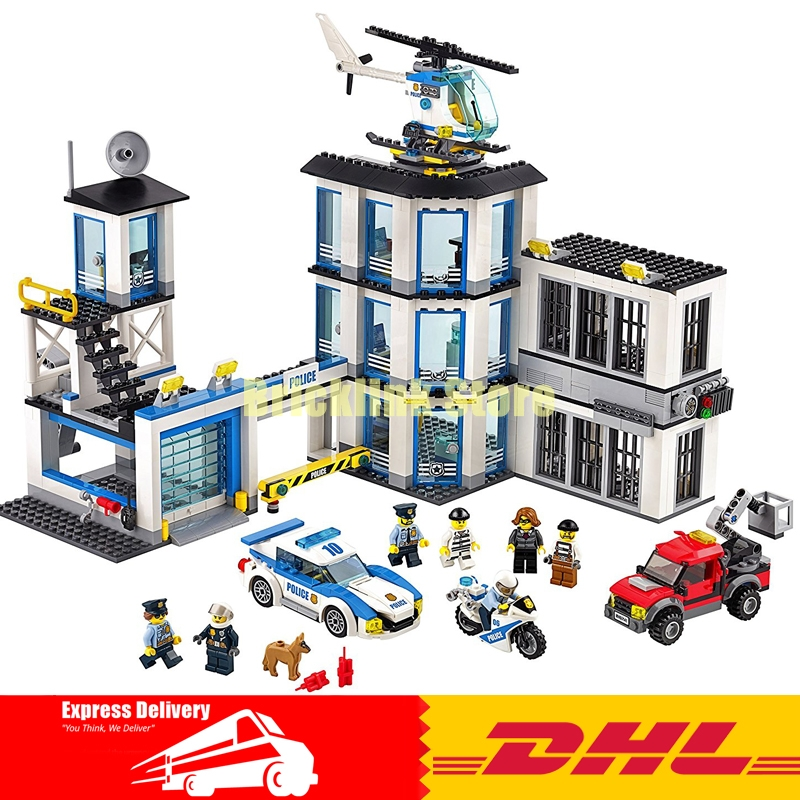 Lepin 02020 NEW City Series The New Police Station Set children Educational Building Blocks Bricks Funny Toys Model Gift 60141 city series lepin 02012 deepwater exploration vessel children educational building blocks bricks toys model funny boy gift 60095