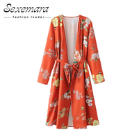 Vintage Loose Floral Print Long Kimono Cardigan 2017 Open Blouse Stitch Tunic Women Shirt Ladies Casual