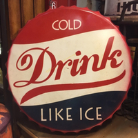 COLD Drink Large Beer Cover Tin Sign Logo Plaque Vintage Metal Painting Wall Sticker Iron Sign Board Decorative Plates 50X50 CM