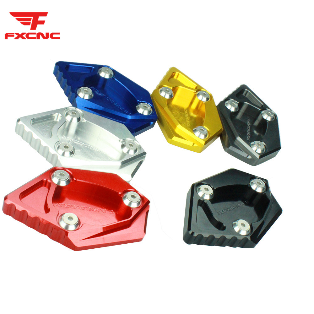 FX CNC Aluminum Motorcycle Kickstand Footside Side Stand Extension Englarger Plate Pad FOR Kymco XCITING 300i XCITING 400i 12-15 image