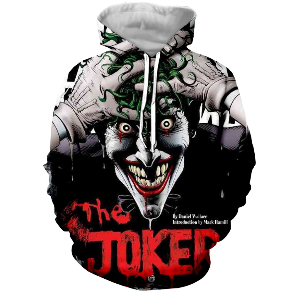 Suicide squad Joker 3D Hoodies Sweatshirts Men Brand Tracksuits Printed Pullover Hooded Coat Funny Hoody Plus Size XS 7XL