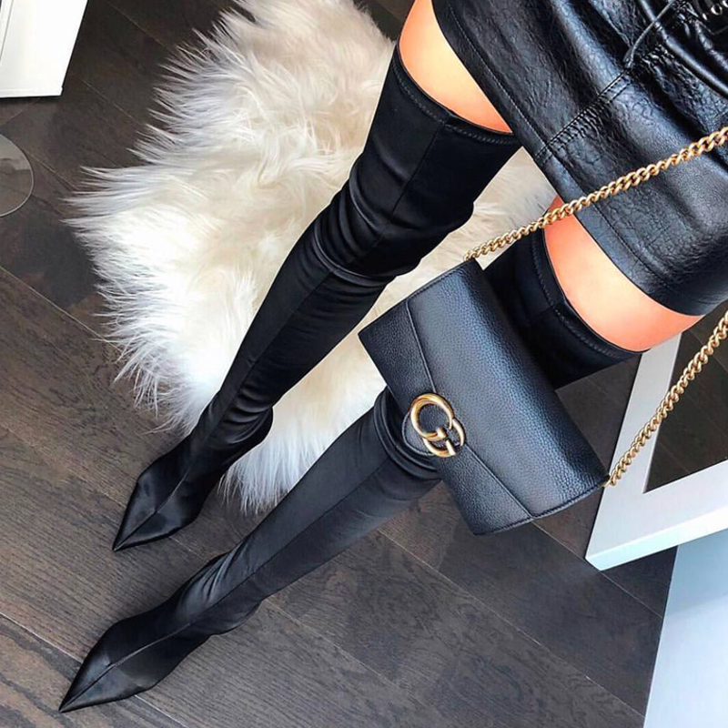 Brand Runway Women Over Knee Boots Long Booties High Thin Heel Chic Satin Stretch Fabric Women Shoes Cozy Pointed Toe Sock BootsBrand Runway Women Over Knee Boots Long Booties High Thin Heel Chic Satin Stretch Fabric Women Shoes Cozy Pointed Toe Sock Boots