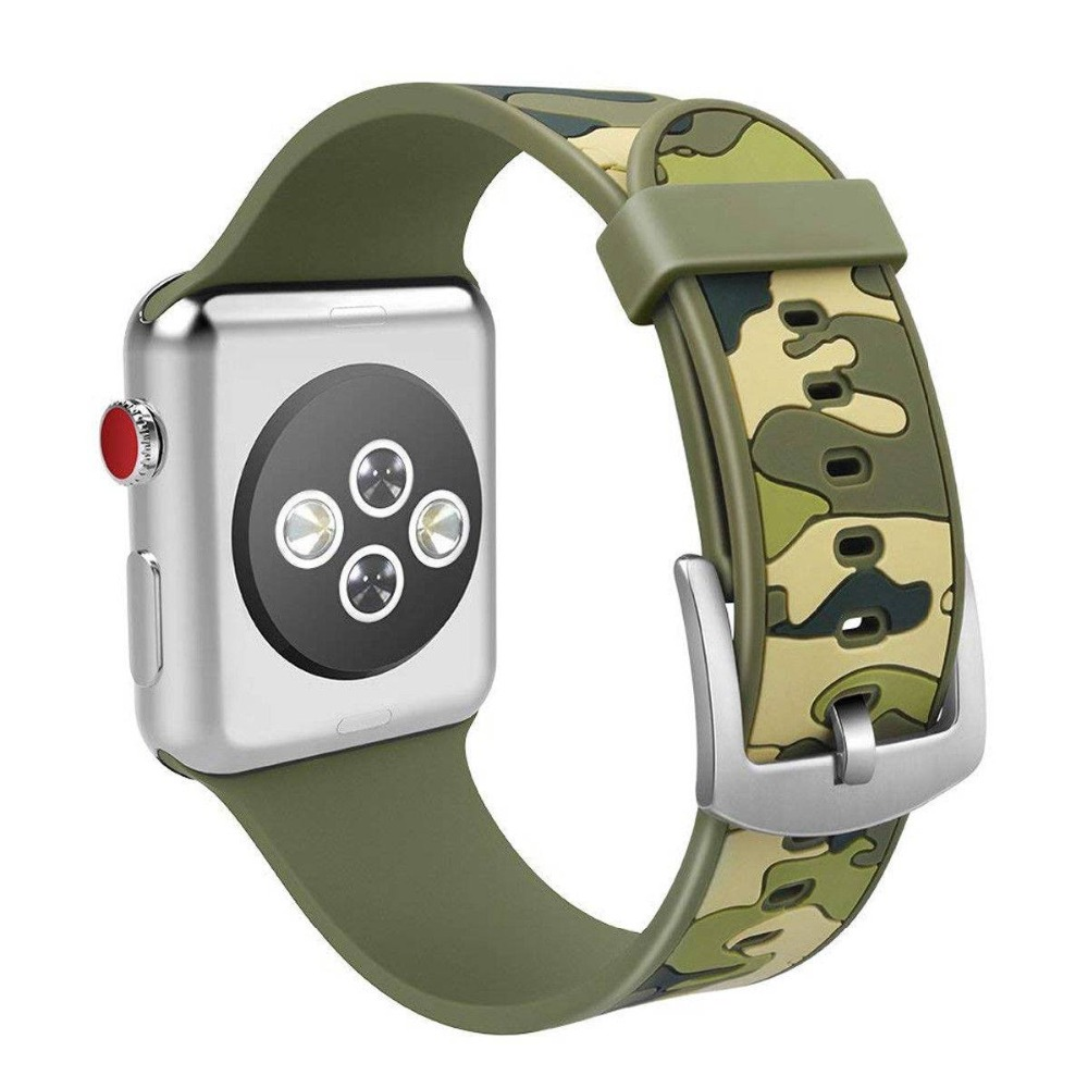 Camo Camouflage Army Green Silicone Sport Bracelet Watch Band Watchband For Apple iWatch Band Strap 38mm/42mm Series 1/2/3 22 colors sport silicone band for apple watch band series 1 2 3 silicone strap bracelet for iwatch 38mm 42mm watchband