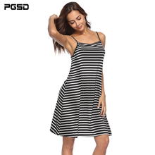 PGSD 2019 New Summer striped Spliced Sling sexy Backless Loose short beach Dress female Simple Fashion casual Women Clothes