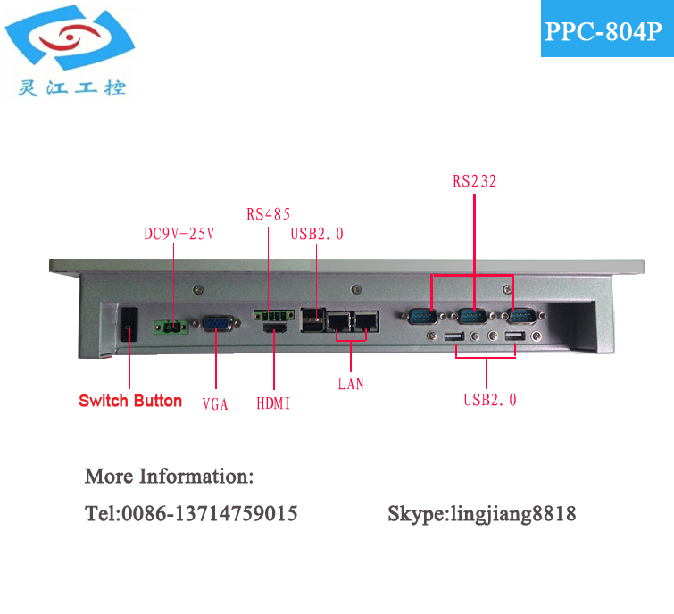 New version High quality 8.4 Inch with CPU Intel ATOM D2550 1.86G LCD Fanless touch screen Industrial Panel PC