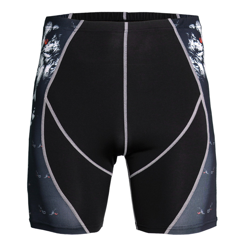 Shorts Training-Suit Fitness-Trend Super-Elastic Breathable Men's Print Fighting Mixed