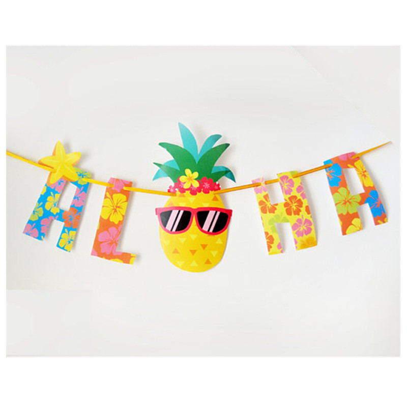 Us 2 27 32 Off 1pc Hawaii Beach Party Pineapple Paper Banner Bachelorette Party Home Decorations Party Decorations Happy Birthday Diy Deco Q In