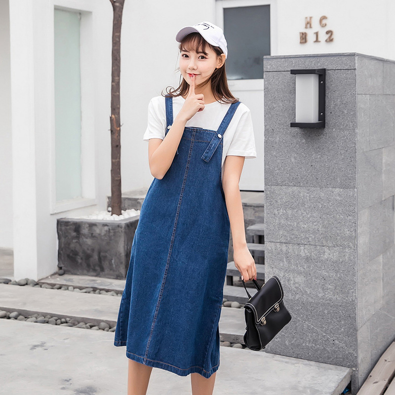 great prices performance sportswear top quality Denim sundress winter pinafore dress female ladies jean dresses ...