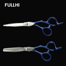 Pro Japan Steel Hairdressing Scissors for Hairstyle Hair Salons Razor Barber Shop Cutting Thinning Scissors Haircuts with PU Bag(China)