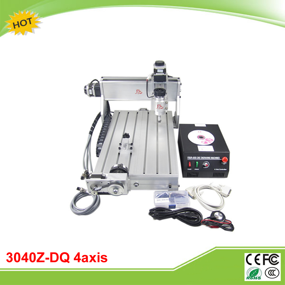 CNC 3040Z-DQ 4 axis mini CNC carving machine engraver grinder with ball screw auto-checking tool 4th rotation axis for 3d cnc