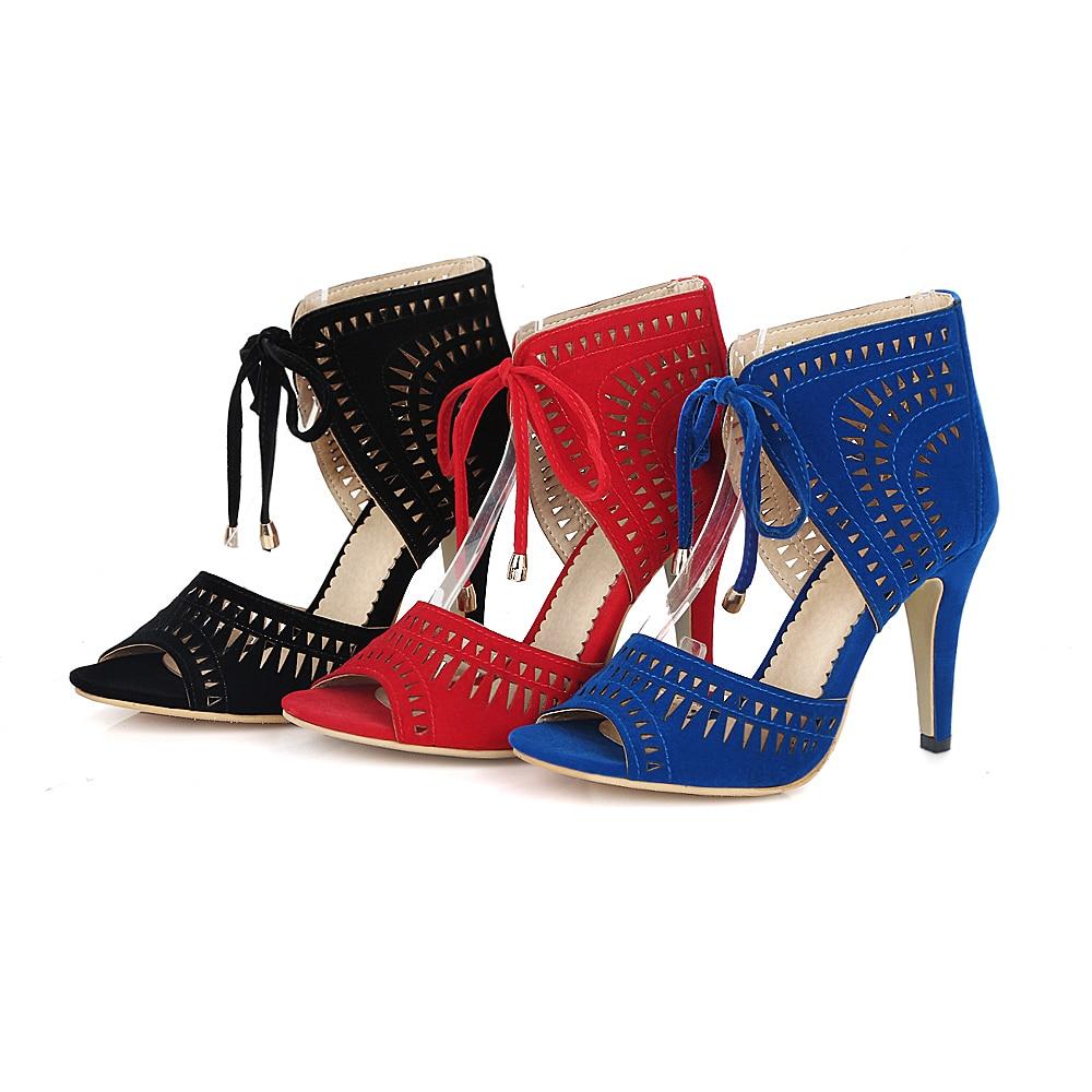 S. romantik Frauen Sandalen Plus Größe 32 43 Mode Sommer Lace Up High Heel Pumps Plattform Dame Frau Schuhe schwarz Blau Rot SS779-in Hohe Absätze aus Schuhe bei  Gruppe 2