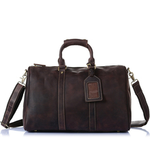 Купить с кэшбэком Large Men Travel Bags hand luggage Man Zipper duffle bags Genuine Leather Men's luggage overnight bag male big bags High Quality