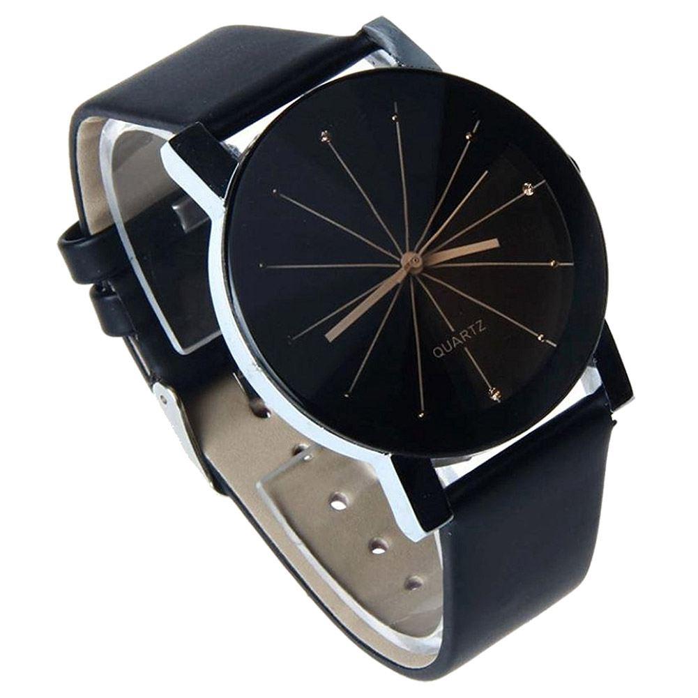 Unique Mens Quartz Round Dial Case Clock PU Leather Band Wrist Watch Black diniho fashion lady s pu leather band round dial quartz waterproof wrist watch black 1 x lr626