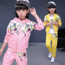 New Girls Sets Spring Autumn Baby Girls Clothes Jacket Floral Sports Hoodies+Pants 2Pcs Sets Suit Children Girls Clothing Sets
