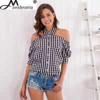 Avodovama M Sexy Halter Neck Plaid Blouse Shirts Fashion Casual Off Shoulder Short Sleeve Women Tops