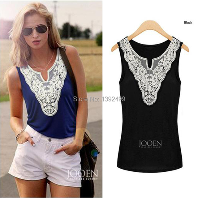 2015 summer new fashion women lace blouse casual blusa feminina  renda sleeveless V-neck tpos plus size free shipping