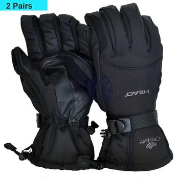 2 пары-30 градусов мужские ветрозащитные водонепроницаемые лыжные перчатки унисекс, флисовые перчатки для сноуборда и езды на мотоцикле, Зимние перчатки для головы