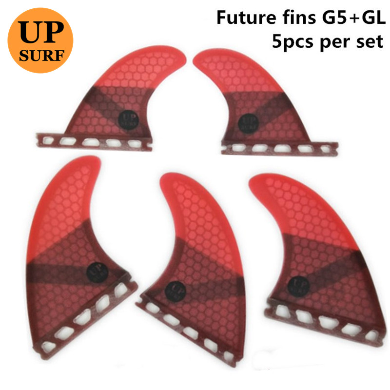 Tri-quad fin set  Fiberglass Honeycomb Future-G5/GL RED upsurf logoTri-quad fin set  Fiberglass Honeycomb Future-G5/GL RED upsurf logo