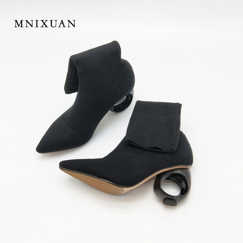 MNIXUAN Stretch boots women 2017 antumn sexy pointed toe elasticity mid-calf winter shoes 7cm fretwork high heels ladies shoes fonirra women mid calf stretch fabric sock boots pointed toe sexy brand design high heel women winter boots ladies shoes 670