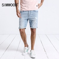 SIMWOOD New 2018 Summer Denim Shorts Men Fashion Hole Ripped Jeans Casual Cotton Slim Fit High Quality Brand Clothing 180196