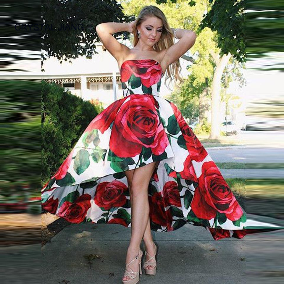 2019 New Fashion Strapless Robe de Soriee Custom made Front Short Long Back Floral Printed Simple Design Formal Prom Gowns