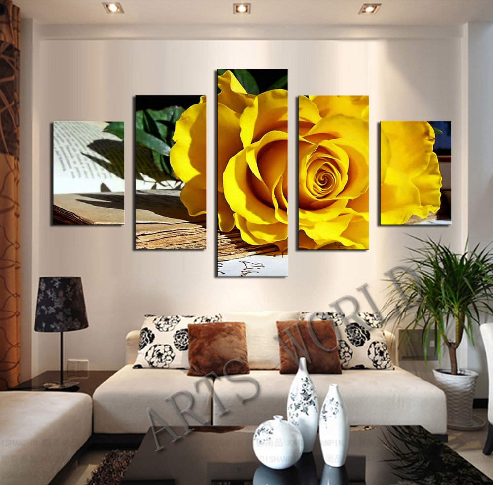 Living room oil paintings - Beautiful Yellow Roses Oil Painting On Canvas Flowers Wall Art Picture Home Decoration Living Room