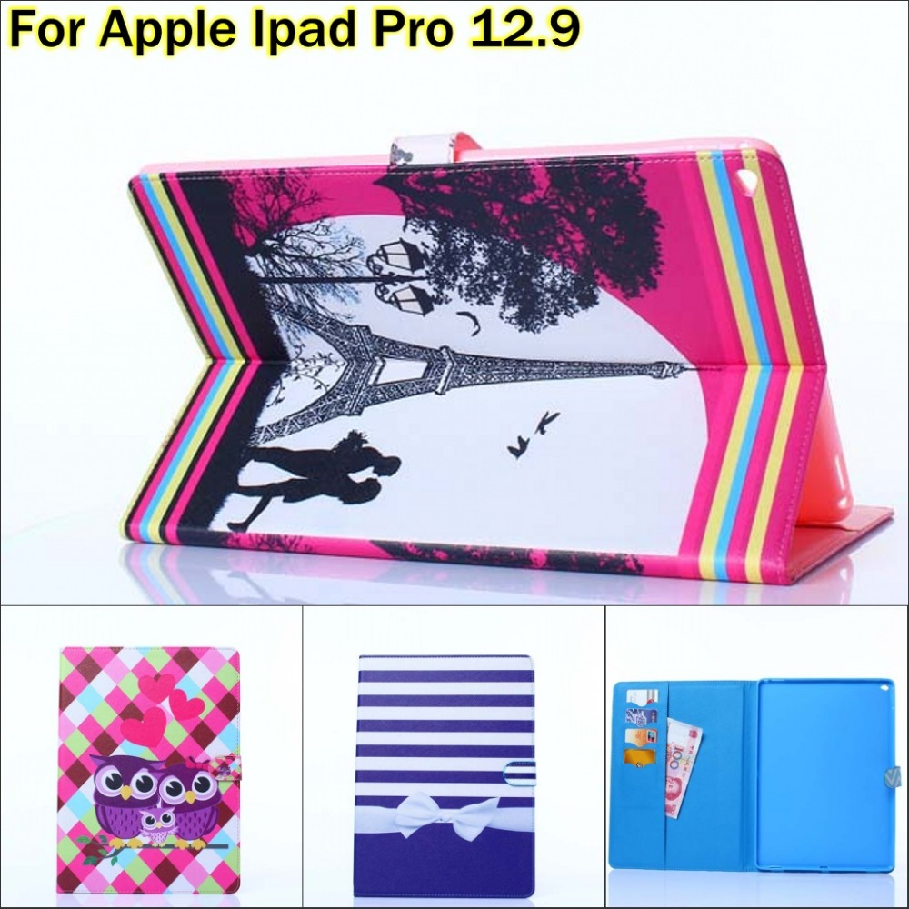 Fashion Cute Owl flower Eiffel Tower wallet card PU Leather stand holder cover Case for Apple ipad pro 12.9 inch with pen dolmobile luxury print flower pu leather case cover for chuwi hi13 13 5 inch tablet with hand holder stylus pen
