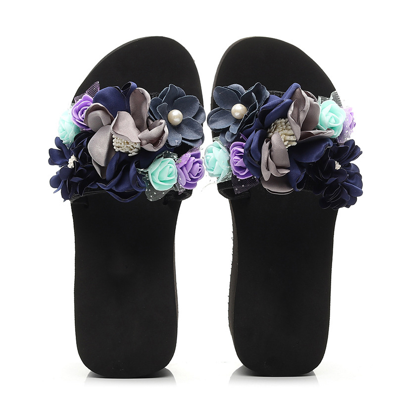 Womens Slippers Summer Flower Flat soled Sandals One word Slippers Korean Version Fashion Leisure Ladies Shoes slippers female in Flip Flops from Shoes