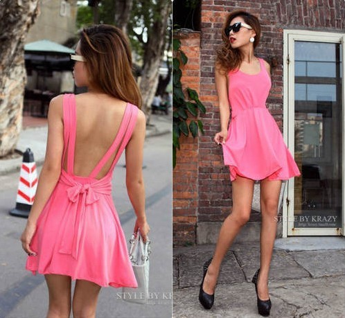 High-quality! Girl Pleated O-Neck Empire Bow Cocktail Dress,Women Novelty Sexy Sleeveless Party Mini Dres
