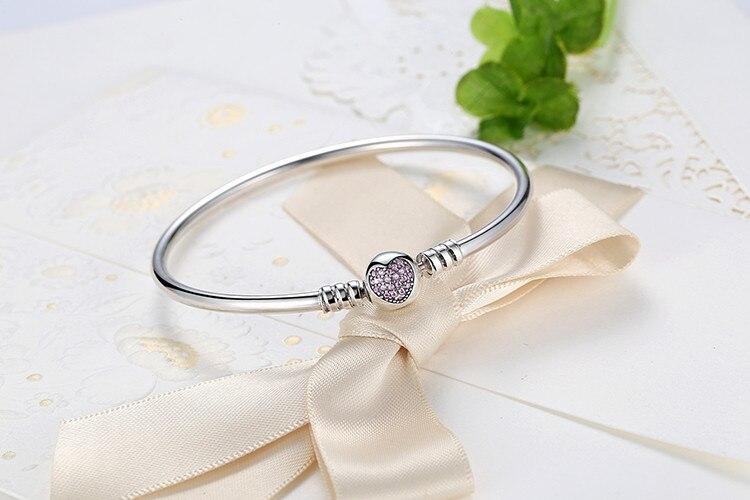 Pulseira 925 Sterling Silver Bracelet Femme Snowflake Heart Blue Eye Femme Snake Chain Bracelets & Bangles Women Jewelry 15