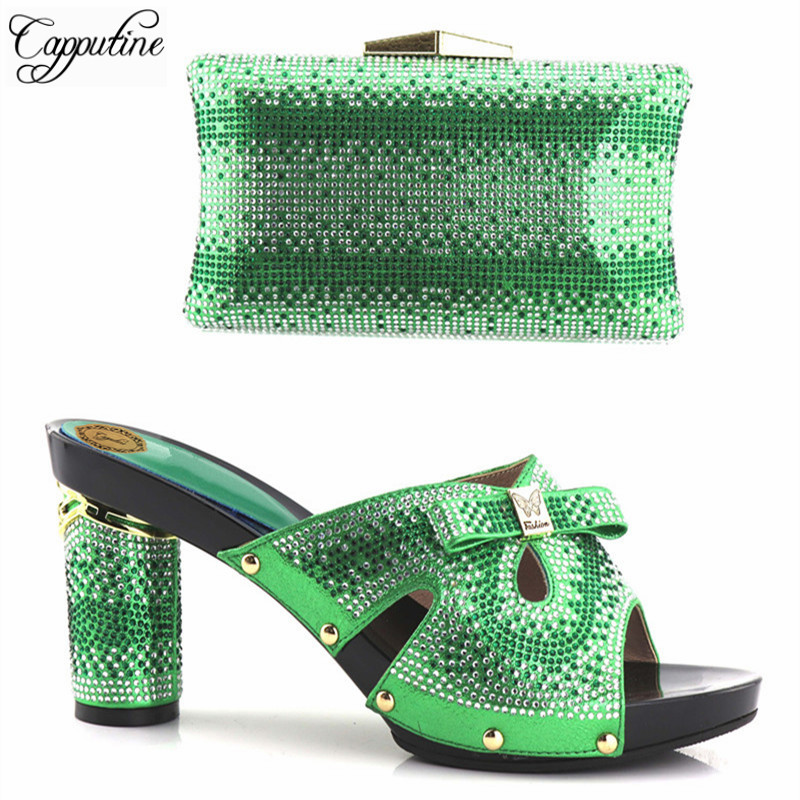 Capputine 2018 Italian Rhinestone Woman Green Color Shoes And Purse Set Fashion High Heels Shoes And Bag Set For Party Dress capputine high quality new rhinestone woman shoes and bag set africa style heels shoes and purse set for party bl435c