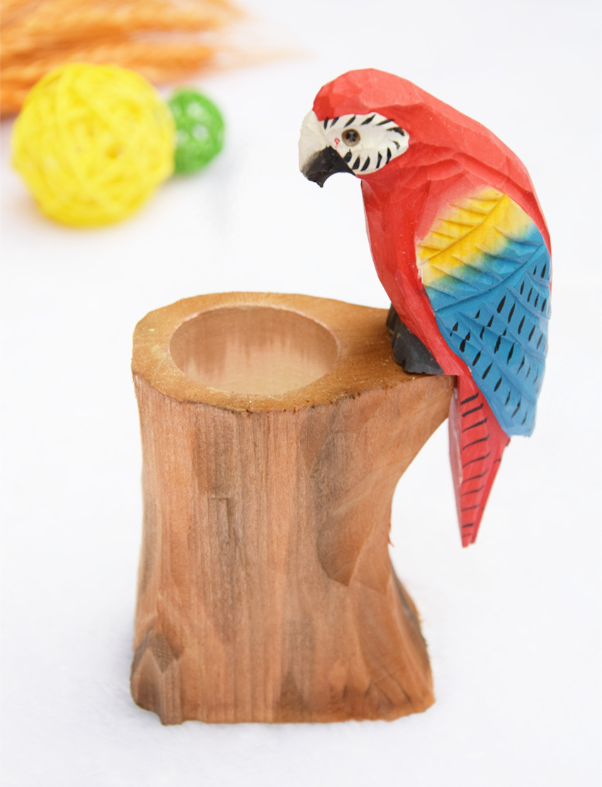 Wooden animals ornaments - Handmade Creative Wood Carving Animals Pen Holder Desktop Placed Ornaments Parrot Peacock