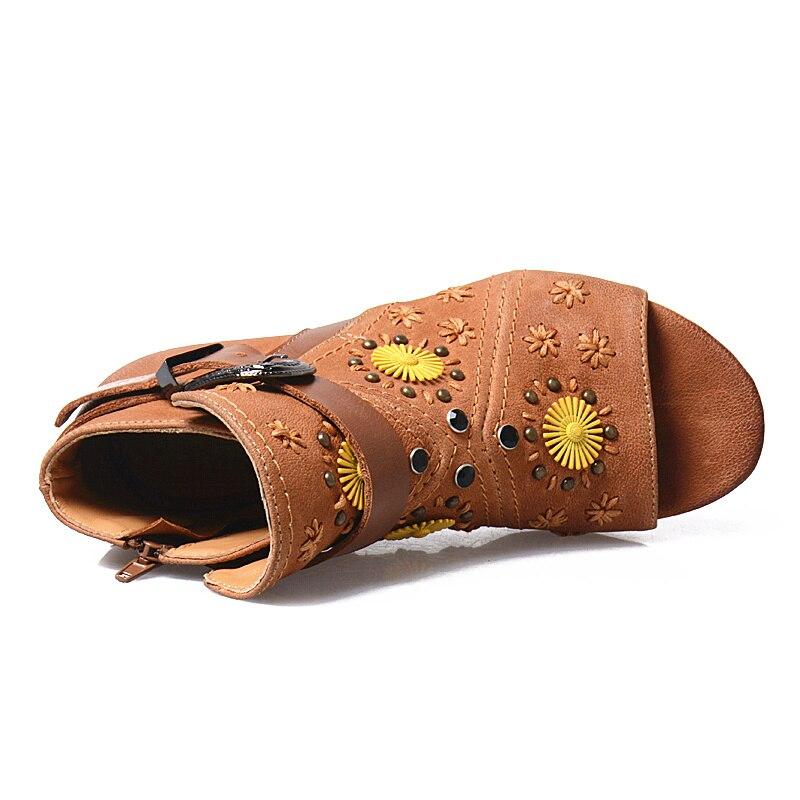 Scarpe Fondo Ankle Roma Med coffee Sandali Donna Boot Mucca Heels Floreale Peep Stivali Toe Da Scarpa Pelle Light Di Estate In Brown Prova 2017 Perfetto Rivetti ON8PXnw0k