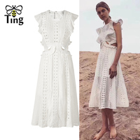 Tingfly sexy summer SP white Lace long party dress hollow out ruffle Slim A line tea length vestidos party dresses