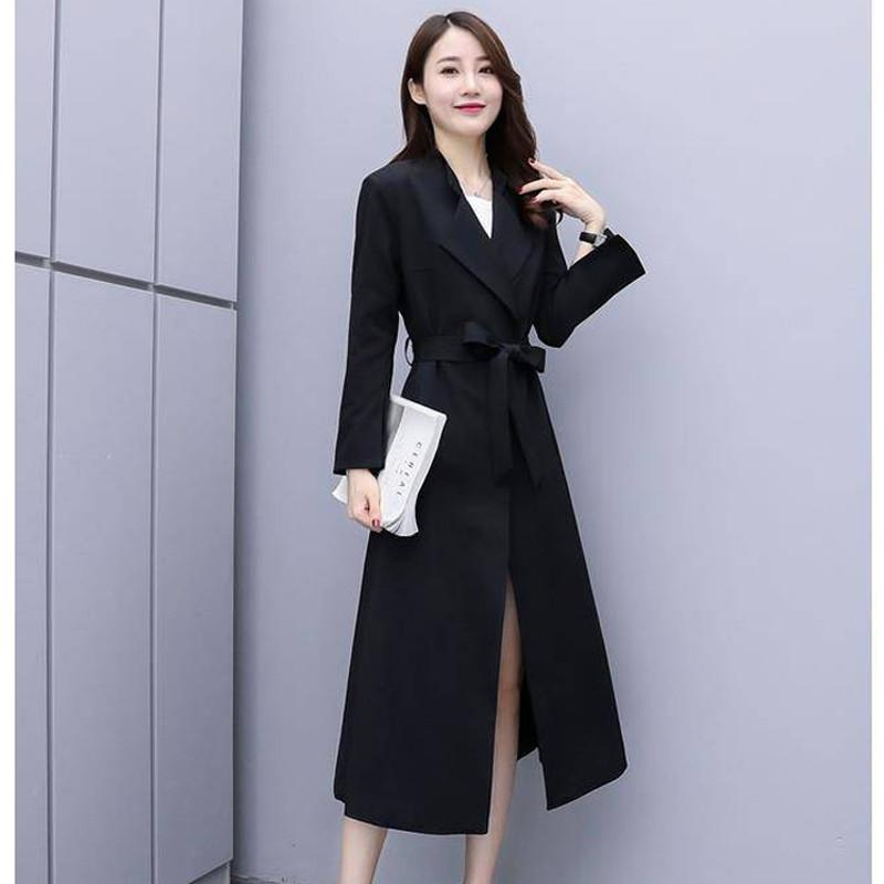 2019 New Spring Autumn Women Fashion Slim Solid Long Trench Coat With Belt Female Office Elegant Windbreaker Manteau Femme R128