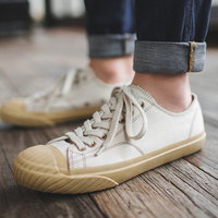 Maden Okayama Canvas Kurume Shoes White Cream Casual All matching Couple Men Lace up Japanese Retro Low top Classic Japanese