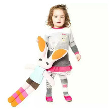 Kids Sweater Dress With Sock Autumn Winter Character Long Tops Ruched Design European and American Style Girls Knit Top
