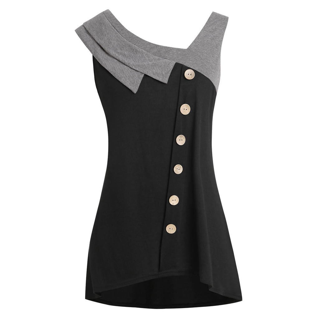 Tunic Shirt large size 3XL 5XL Womens Tops and Blouses 2019 Fashion Plus Size Asymmetric Blouse Sleeveless Button female shirt(China)