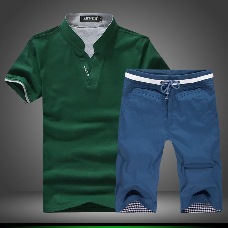 2 PCS 2017 Summer Men S Fashion High Grade V Neck Slimming T Shirts With Short