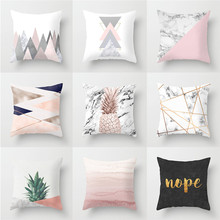 Hot Pink Geometric Cushions Home Decor Printed Cushion Covers 45x45cm Polyester Farmhouse Pillow Case Throw Cover