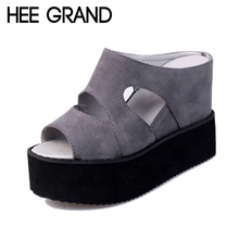 HEE GRAND 2017 Summer Slides Sexy Cut outs Women Platform Sandals Wedge High Heels Shoes Woman XWZ2482