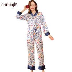Fdfklak Новые 2018 шелковые пижамы Для женщин с длинным рукавом печати пижамы комплект сезон: весна–лето пижамы Для женщин Lounge пижамы Домашняя