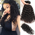 8A Water Wave Virgin Hair With Closure Hj Weave Beauty Brazilian Curly Virgin Hair Bundles And Closures tissage cheveux humain