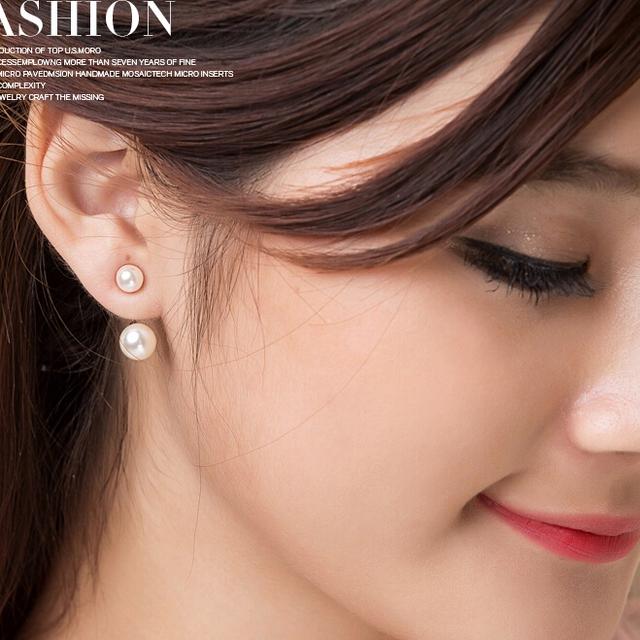 ZHBORUINI 2019 Fashion Pearl Earrings Jewelry Freshwater Pearl Oblate Pearl Earrings 925 Sterling Silver Double Earrings Jewelry