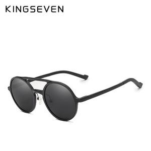 Image 4 - KINGSEVEN aluminium męskie okrągłe okulary spolaryzowane mężczyźni Punk Vintage akcesoria do okularów okulary jazdy Retro okulary przeciwsłoneczne