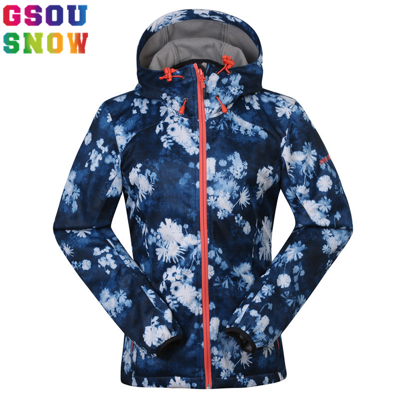 Gsou Snow Women Softshell Hiking Jacket Outdoor Camping Fleece Coat Thermal Waterproof Windproof Female Windbreaker Jacket Brand muscles of arm with main vessels and nerves arm muscles model